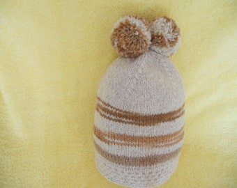 64cc38380db Hand Knitted Baby Hat. Winter Hat for 6 months old with two pompoms.  Natural Wool Hat.