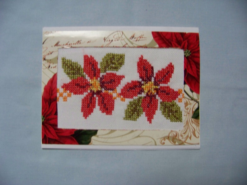Handmade Cross Stitch Embroidery Greeting Card. Poinsettia image 0