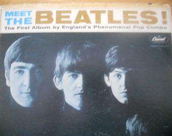 Meet The Beatles Vintage Vinyl LP Record. Rock Music Recorded Audio.