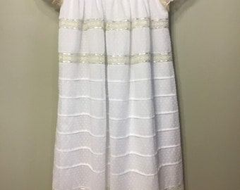 Heirloom dotted swiss and French lace dress with hand embroidery