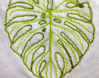 Embroidered Monstera (Swiss cheese plant) leaf T-shirt