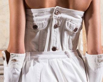 Salts/Sales-recycled white denim corset/cowboy corset-#007A