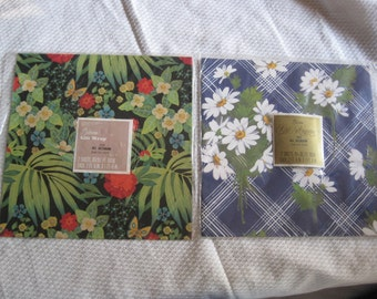 vintage gift wrapping paper 2 packages floral