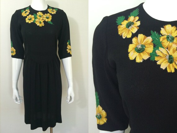 Vintage 1940s Black Crepe Dress with Yellow and Gr