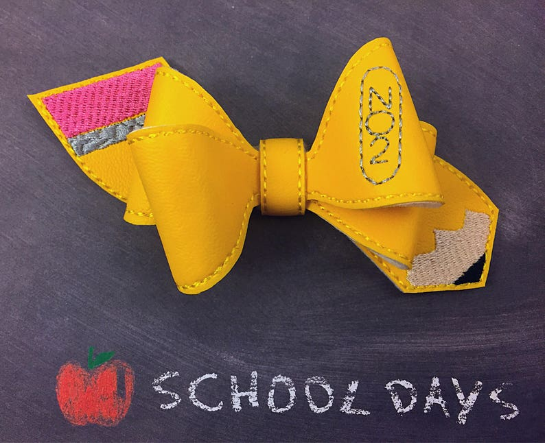 back to school 4 inches yellow School Pencil themed pinwheel hair bow