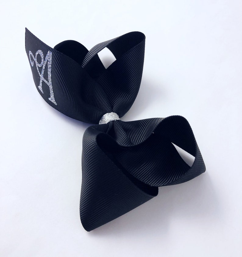 Monogram hair bow black hair bow silver glitter hair bow