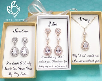 bf195e776 Personalized Bridesmaid Gift set, Bridesmaid Earrings, Rose gold Cubic  Zirconia earrings, wedding jewelry set,bridal earrings