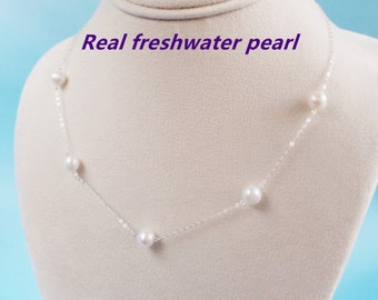 Floating pearl necklace,bridesmaid gift,bridesmaid necklace,five Pearl Necklace,freshwater pearl necklace,wedding gift, 6-7mm pearl