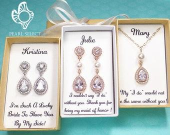 Personalized Bridesmaid Gift set, Bridesmaid Earrings, Rose gold Cubic Zirconia earrings, wedding jewelry set,bridal earrings