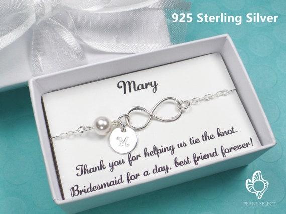 Genuine 925 Sterling Silver CZ infinity  Bracelet Bridesmaid Gift Jewellery card
