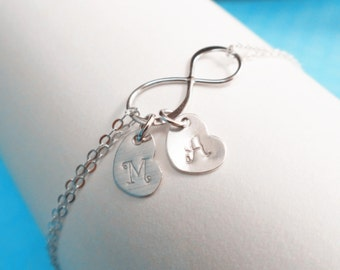 Personalized Infinity bracelet,initial bracelet,infinity heart bracelet,initial disc,mother's gift,grandmather gift