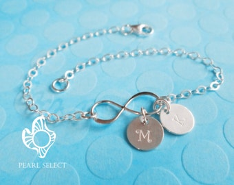 Personalized Infinity Bracelet,bridesmaids gift,sterling silver Infinity Bracelet,initial bracelet,Friendship bracelet,monogram bracelet