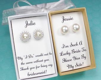 Bridesmaid gifts,pearl earrings,bridesmaid earrings,bridesmaid gift,bridal party gift,pearl stud earrings,necklace pearl select