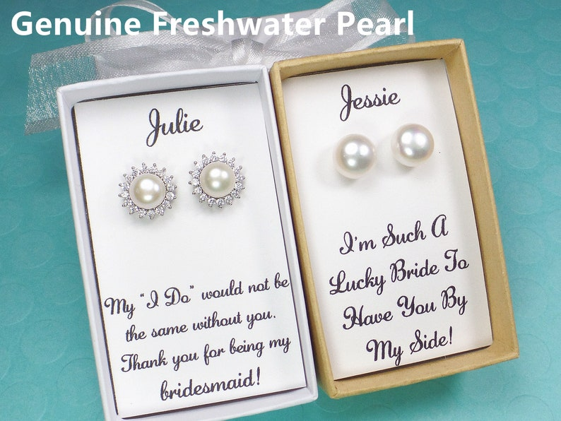 Bridesmaid giftsfreshwater pearl earringsbridesmaid image 0