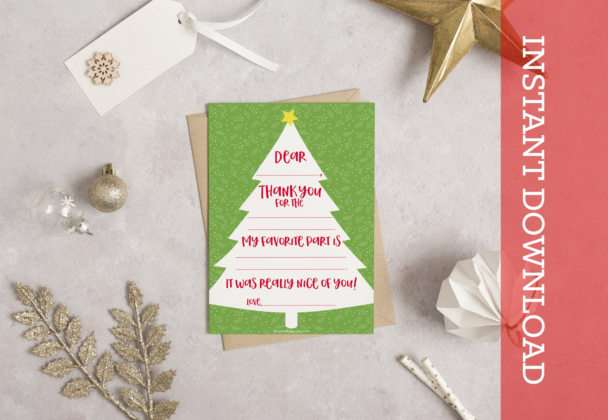 Instant Download Fill In Thank You Holiday Cards Thanks Etsy