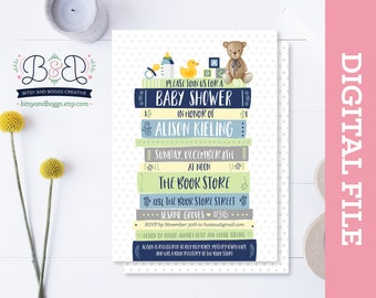 Book themed baby shower invitations etsy digital book baby shower invitation book story baby shower invitation bring a filmwisefo