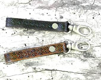 Trendy boho western southwestern star leather  key fob keychain