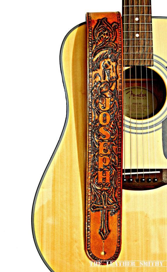Country Western Horse Personalized Leather Adjustable Guitar