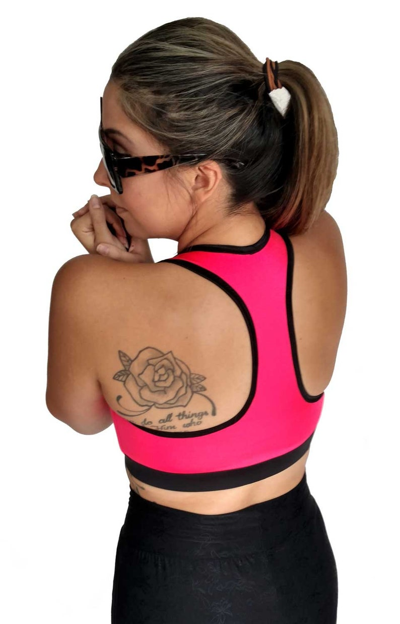 jogging active wear exercise top Hot Pink Busy Bee fitness bra Sports Bra workout high compression athletic hiking running yoga