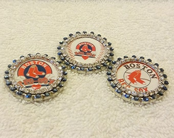 Boston Red Sox Pin, Swarovski Rhinestone Boston Red Sox Baseball Inspired Bling Pin, Unique Red Sox Pin