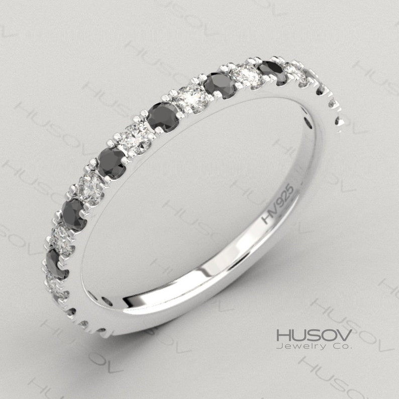Black Gemstone Ring Half Eternity Band Spinel Birthstone 925 image 0