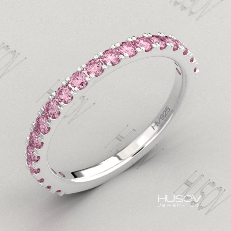 Pink Sapphire Ring Half Eternity Band October Birthstone 925 image 0