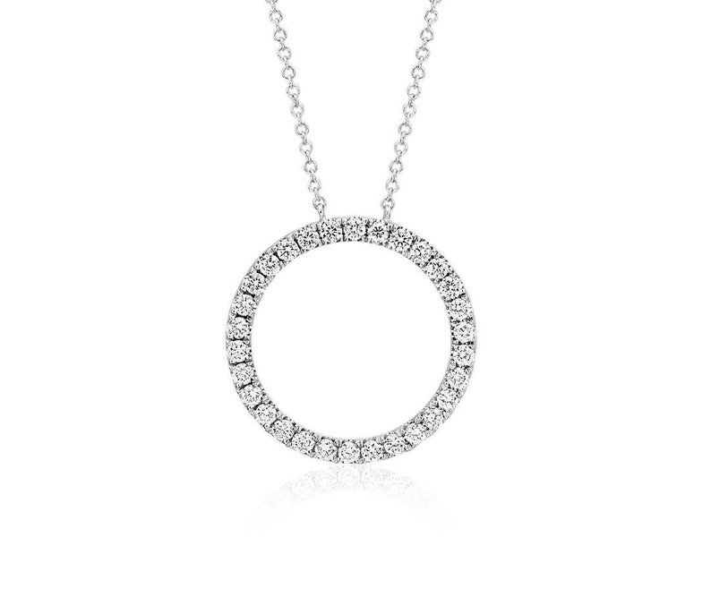 14k White Gold Circle O Pendant Diamond Eternity Necklace image 0