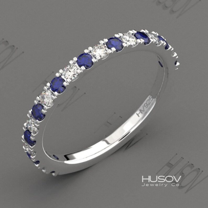Birthstone Ring Stackable Eternity Band Gemstone Wedding image 0