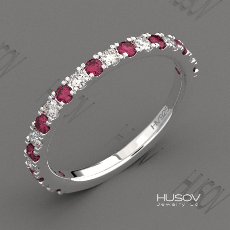 July Birthstone Ring Ruby Eternity Womens Band 925 Sterling image 0