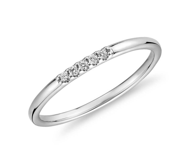 Stacking Rings Diamond Band Womens For Her Minimalist White image 0
