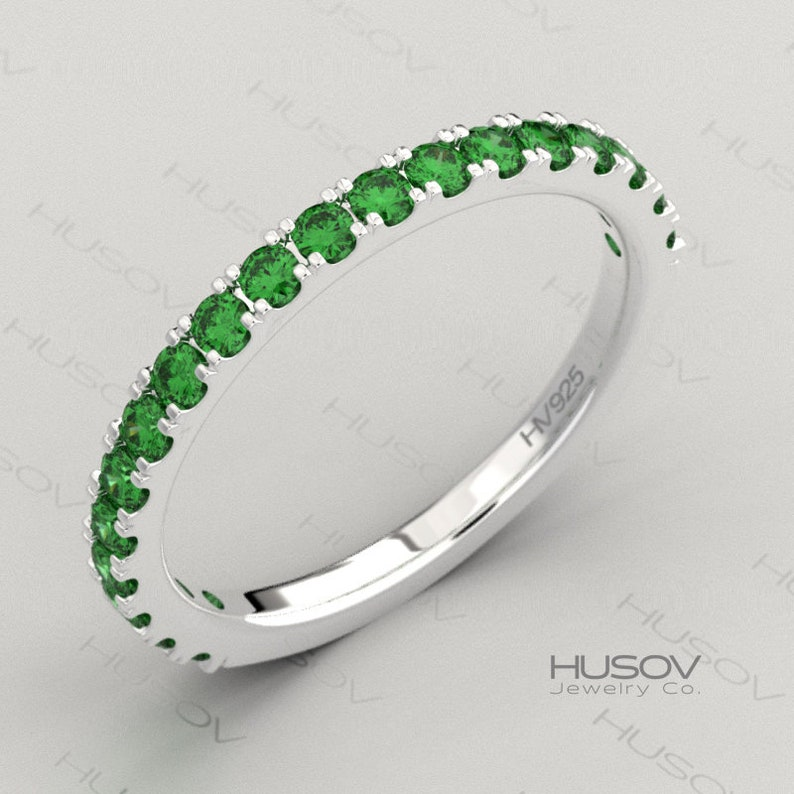Emerald Ring Half Eternity Band May Birthstone 925 Sterling image 0