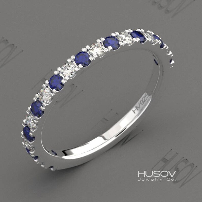 Blue Sapphire Ring Half Eternity Band September Birthstone 14k image 0
