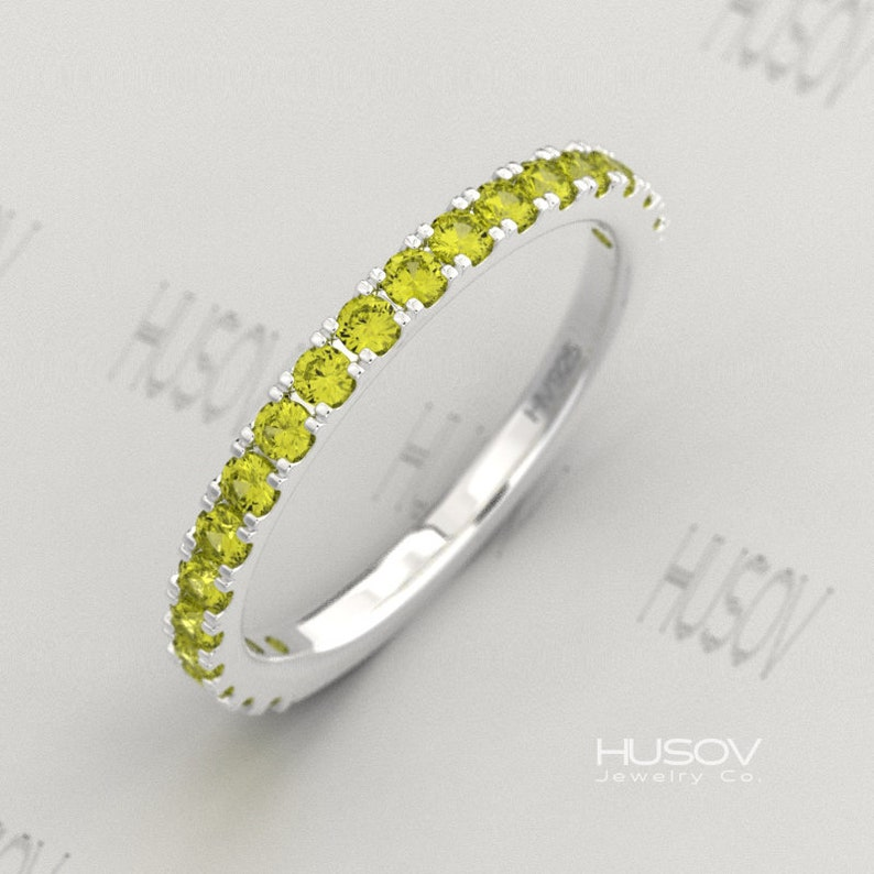 Peridot Ring August Birthstone Half Eternity Band 925 Sterling image 0