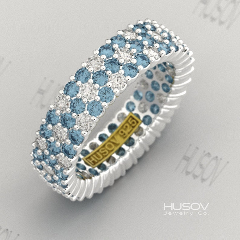 Aquamarine Ring Womens Gift For Her Eternity Band Right Hand image 0