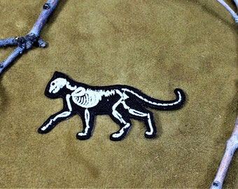 Skeleton cat, iron on goth kitty patch