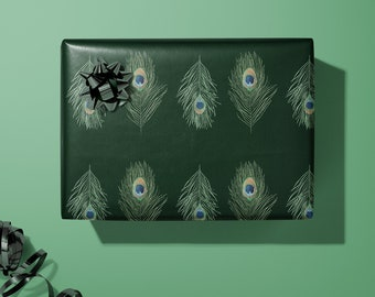 Peacock Wrapping Paper | Animal Wrapping Paper | Bird Gift Wrap | Wedding Decorative Paper | Nature Gift Wrap |