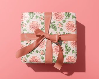 Peonies Wrapping Paper | Pink Wrapping Paper | Floral Gift Wrap | Flower Decorative Paper | Special Gift Wrap |