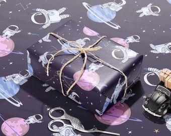 Space Themed Wrapping Paper | Astronaut Wrapping Paper | Rocket, Planet Gift Wrap | Children Decorative Paper | Birthday Wrapping Paper |