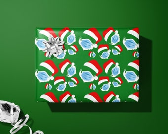 Santa Claus With Face Mask | Covid Christmas Wrapping Paper | Funny Christmas Gift Wrap | Christmas Decorative Paper