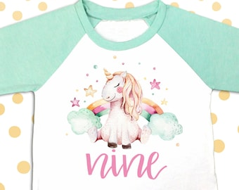 Unicorn 9th Birthday Outfit Nine Shirt 9 Year Old Party Bday Mint And Gold