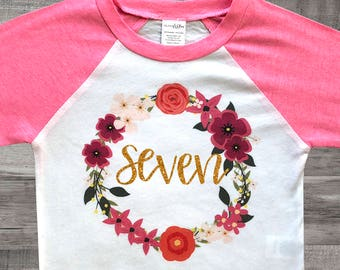 Girls 7th Birthday Outfit Seven Shirt 7 Year Old Party Bday Pink And Gold
