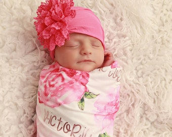 35b1e650e92 Personalized Baby Blanket and Headband Set Personalized Swaddle Blanket  Baby Girl Receiving Blanket Monogram Baby Blanket Baby Girl Blanket