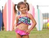Girl 39 s Monogrammed Swimsuit, Tropical Swimsuit, Embroidered Swimsuit, Monogram Bathing Suit, Kids Personalized 2 Piece
