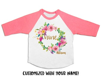 Girls 9th Birthday Outfit Nine Shirt 9 Year Old Party Bday Pink And Gold
