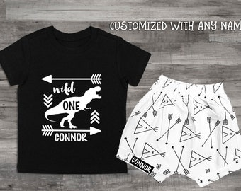Wild One Boy Clothes 1st Birthday Shirt Boys 1 Year Old Dinosaur Bday