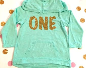 Seventh Birthday Personalized Lightweight Hoodie Girl Glitter HoodiePink Name 7th Shirt