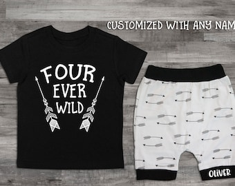 Boy Clothes 4th Birthday Shirt Four Ever Wild 4 Year Old