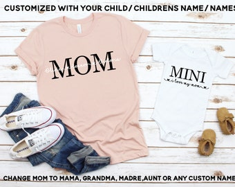 91f1254be6 Mommy and Me Shirt Set Mother and Son Matching Shirts Mother and Daughter Matching  Shirts Personalized Mom Shirt Mom shirt with kids names