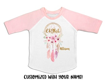 Dreamcatcher Girls 8th Birthday Outfit Seven Shirt Eight 8 Year Old Party Bday