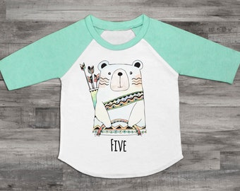 Five Bear Shirt 5th Birthday Shirt Unisex 5th Birthday Top Five Shirt Kids 5th Birthday Shirt 5th Birthday Bear Birthday Raglan Bear Shirt
